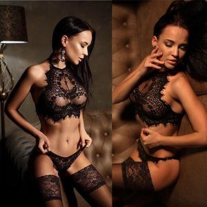 NEW 2pc Lace Lingerie Bralette & Underwear Set #E4
